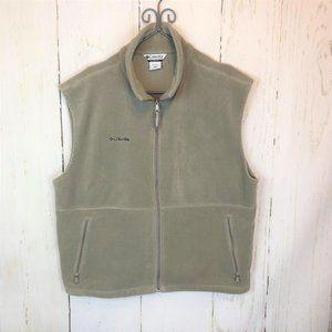 Columbia Sportswear Full Zip Fleece Vest Tan Beige